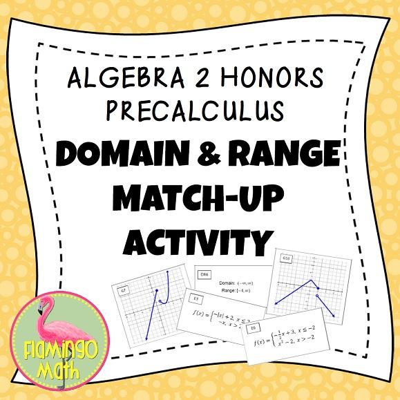 Domain and range algebra 1 activities